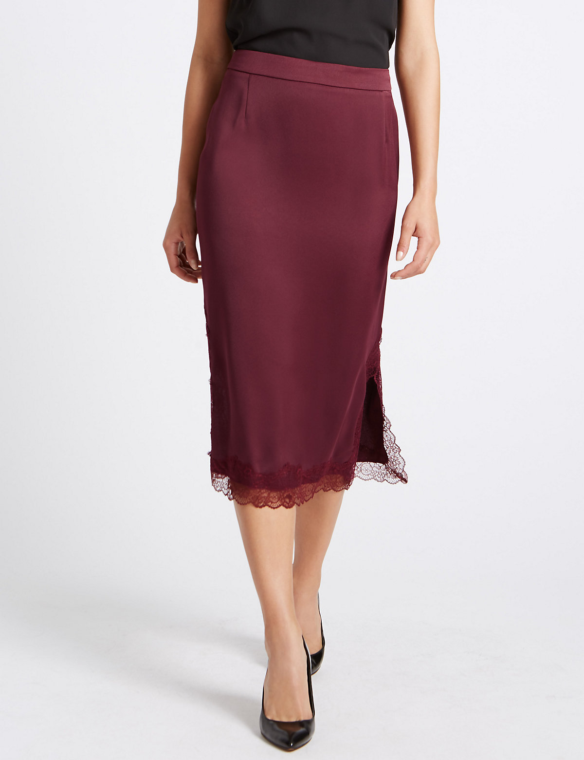 M&S Collection Lace Trim Straight Midi Skirt