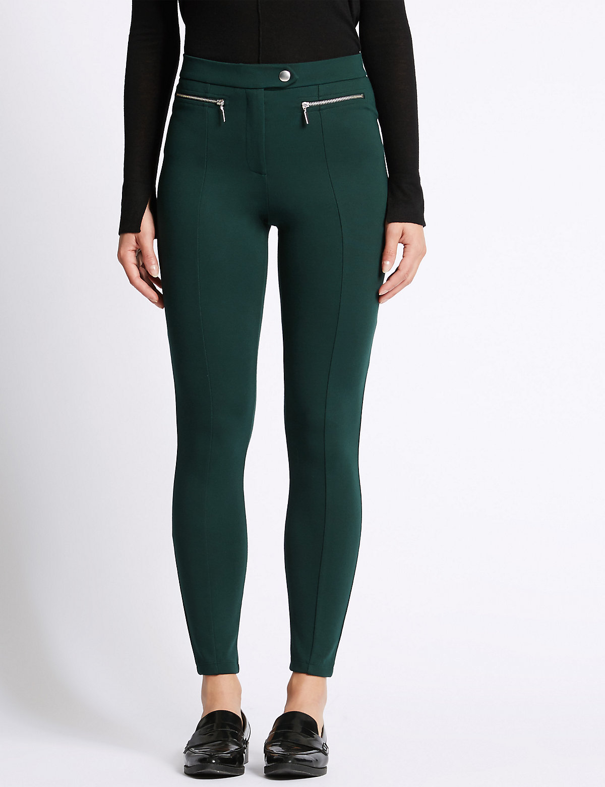 M&S Collection Skinny Leg Flat Front Trousers