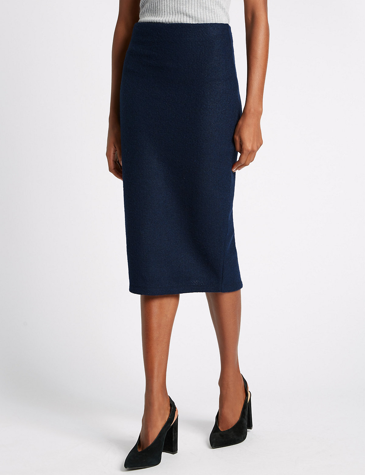 M&S Collection Knitted Midi Pencil Skirt