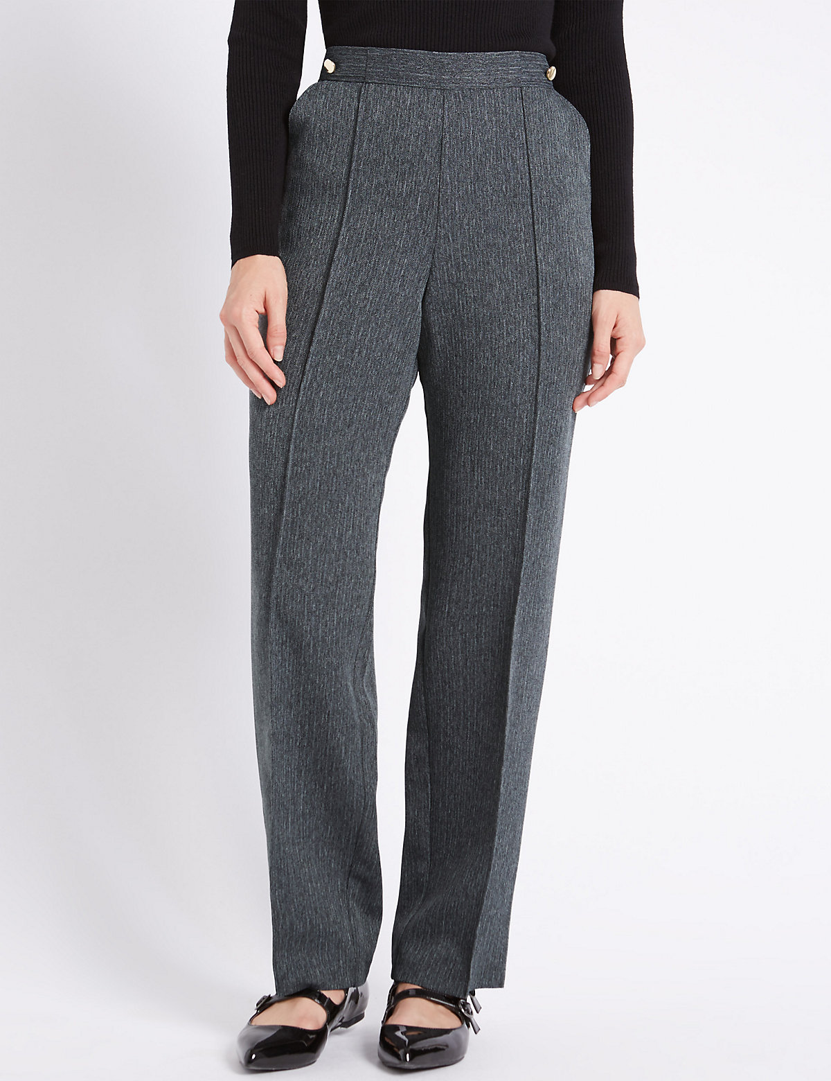M&S Collection PETITE Straight Leg Trousers