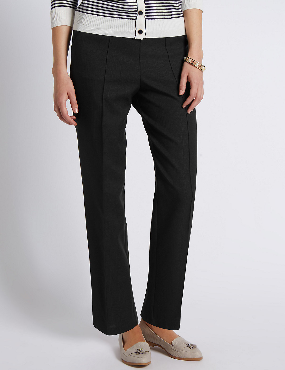 Classic Pull On Textured Tapered Leg Trousers