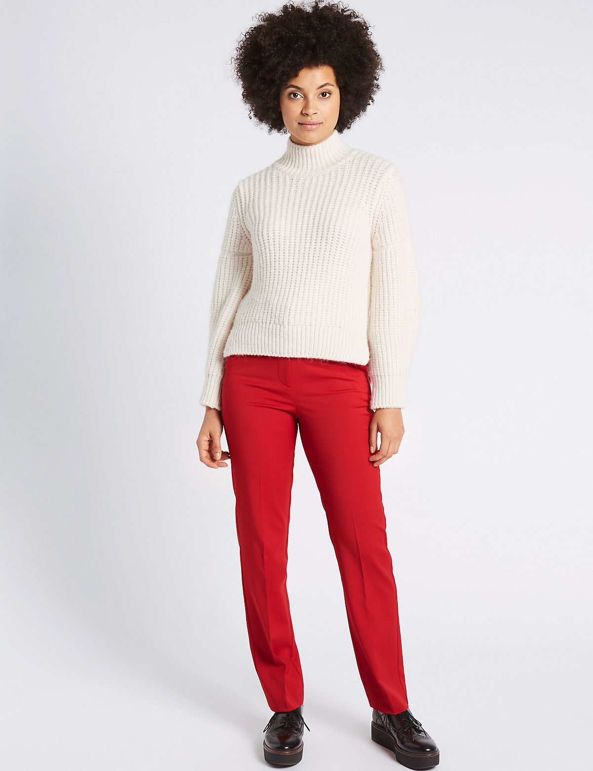 M&S Collection Wool Blend Straight Leg Trousers