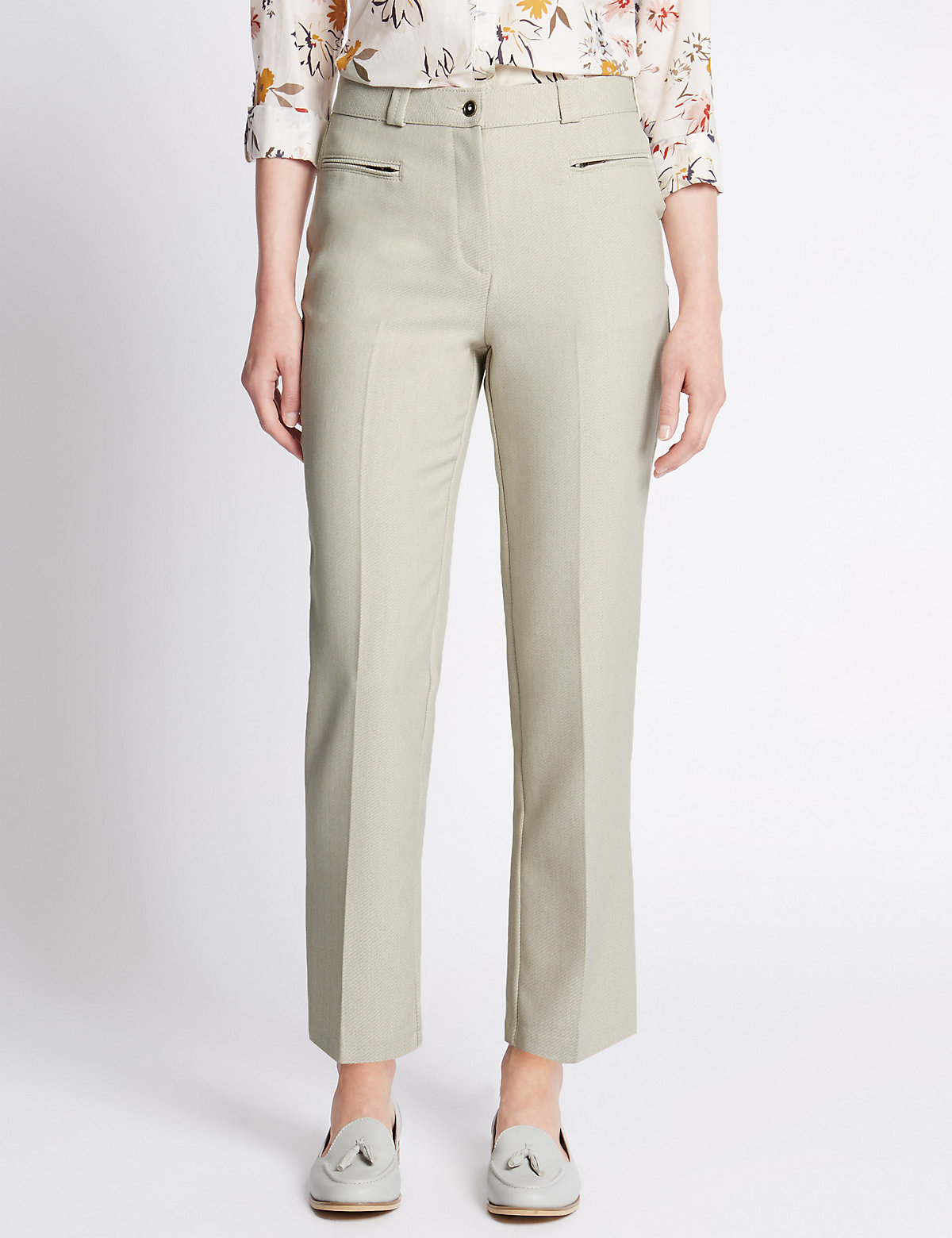 Classic Straight Leg Textured Trousers