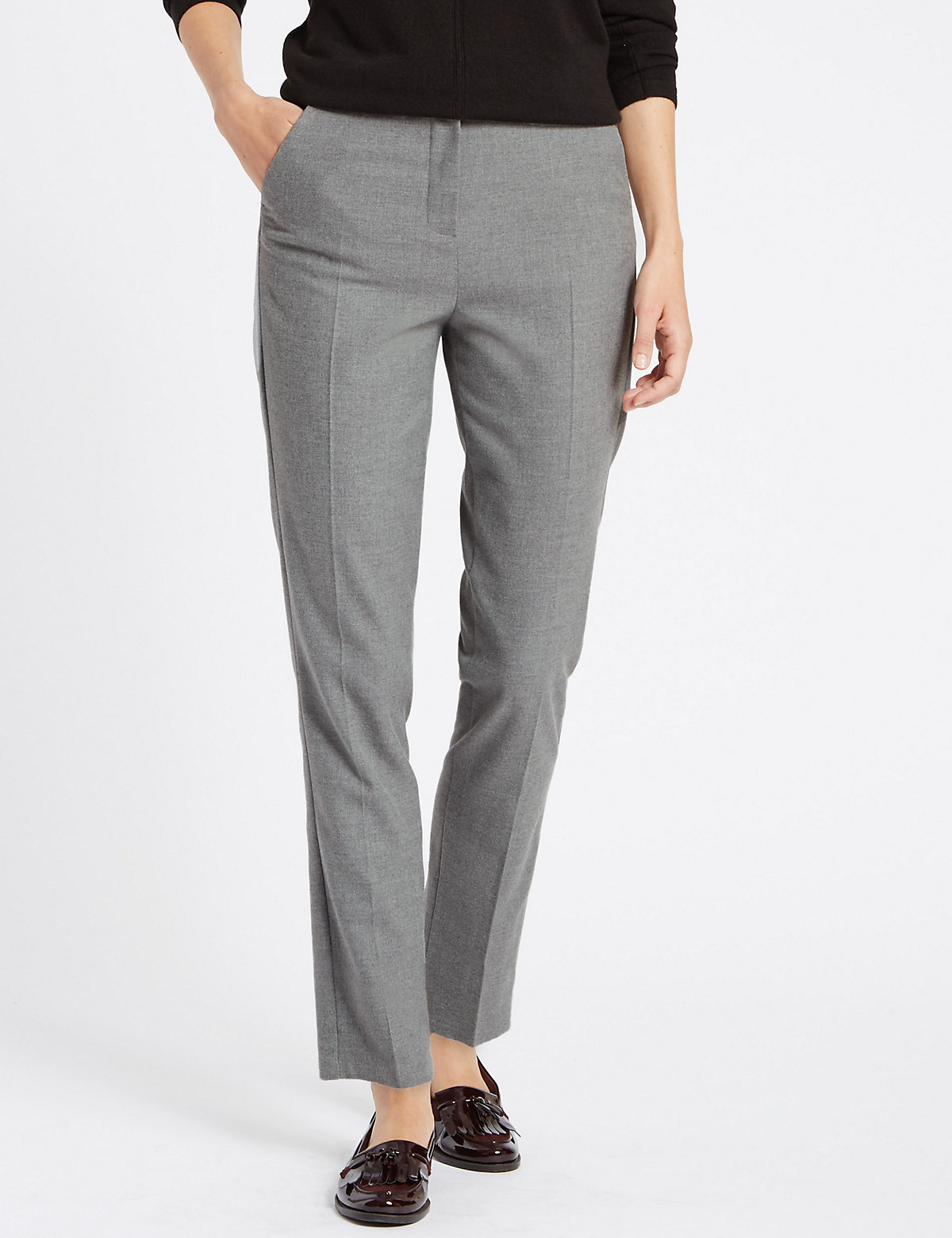 Classic Straight Leg Flannel Trousers