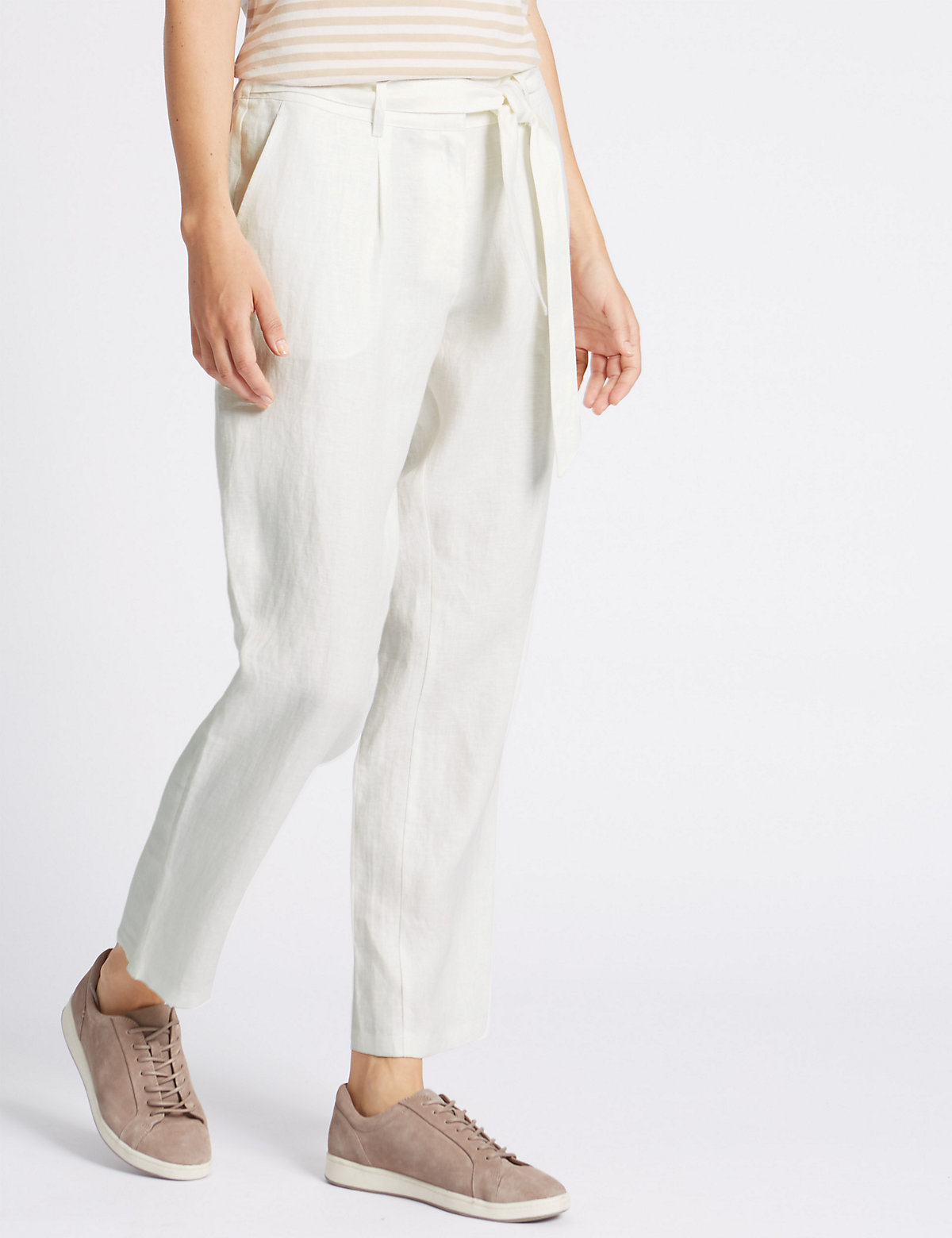 Classic Pure Linen Tie Waist Tapered Leg Trousers