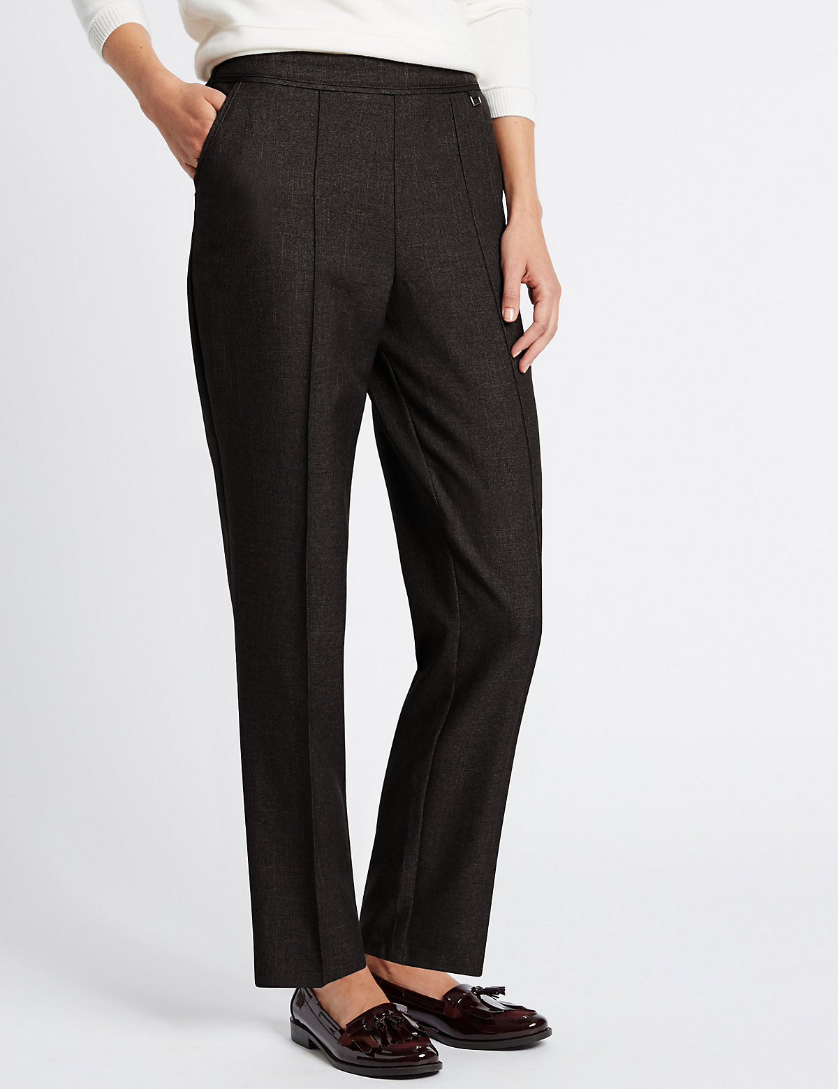 Classic Cross Hatch Straight Leg Trousers
