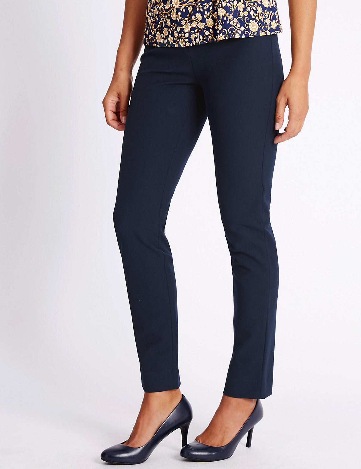 Classic Cotton Blend Straight Leg Trousers