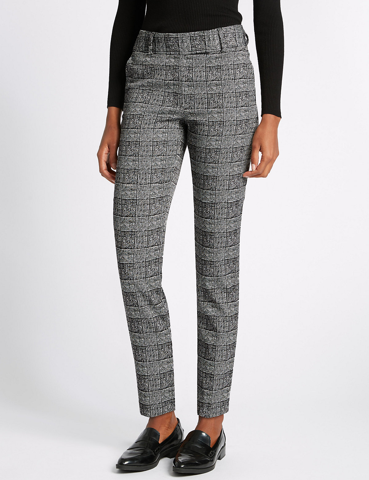 M&S Collection Checked Slim Leg Trouser