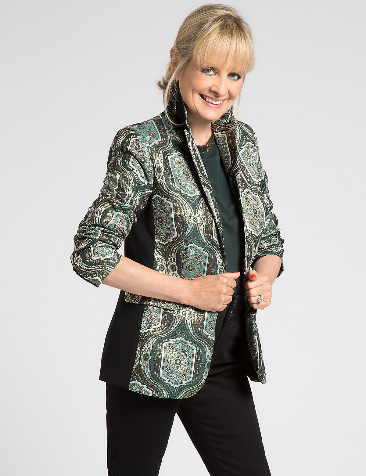 Designed by Twiggy Brocade Print Jacket