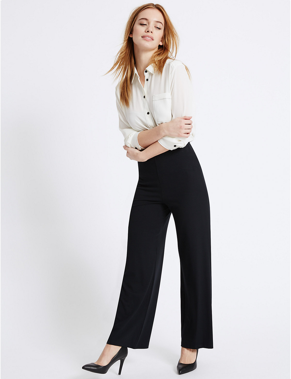 M&S Collection PETITE Wide Leg Trousers