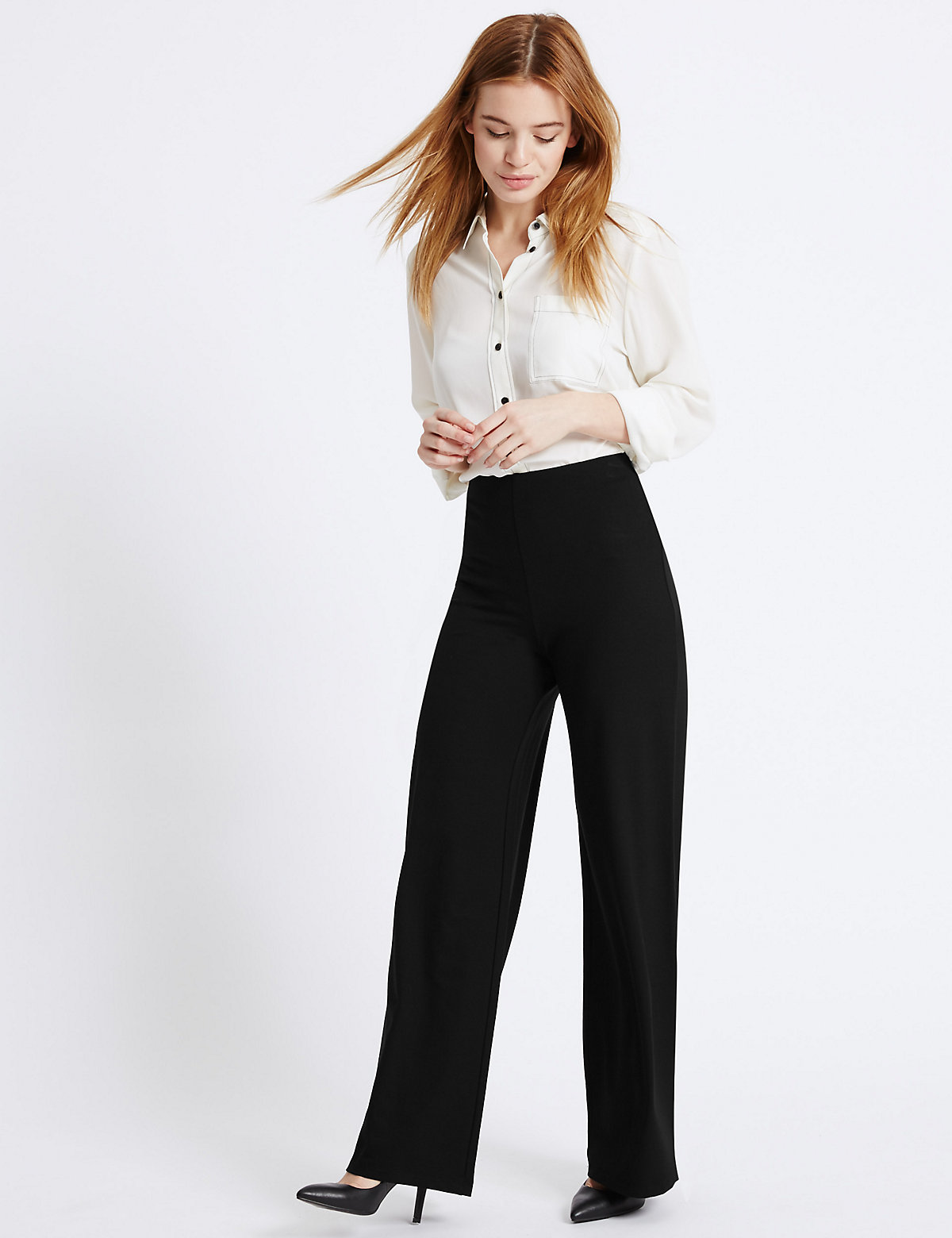 MS Collection PETITE Wide Leg Trousers Marks and Spencer P22448182