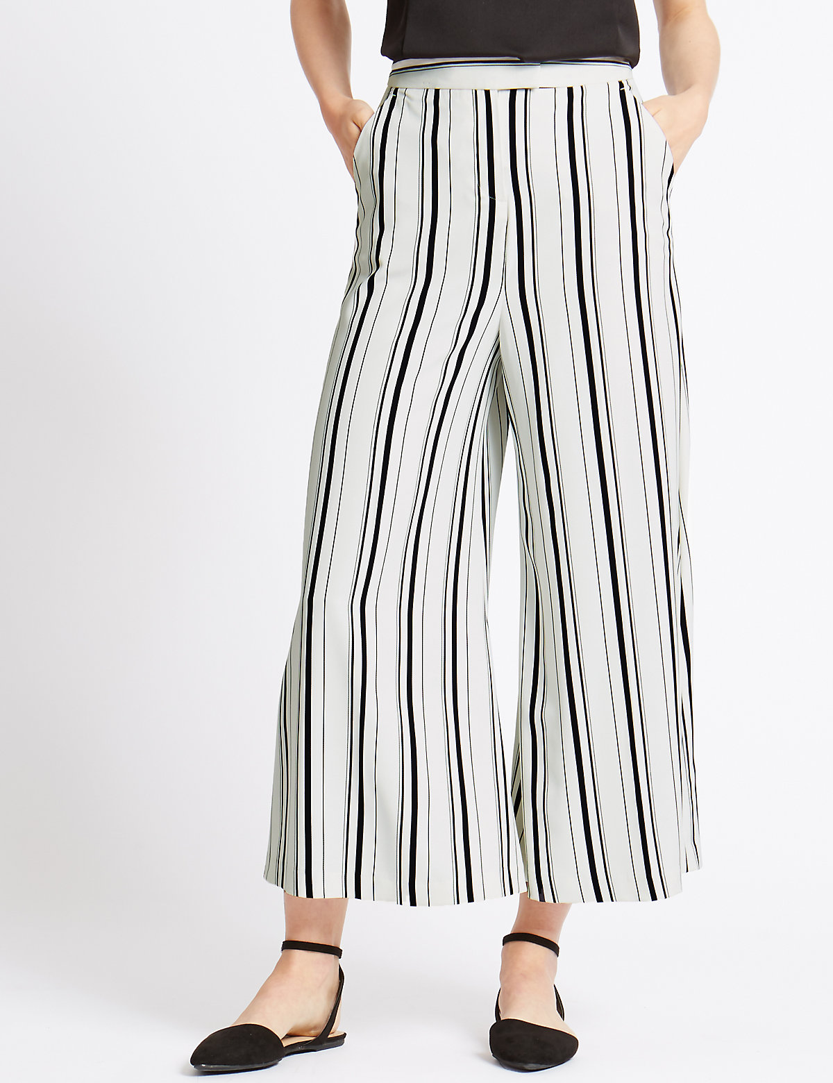 M&S Collection Striped Wide Leg Cropped Trousers