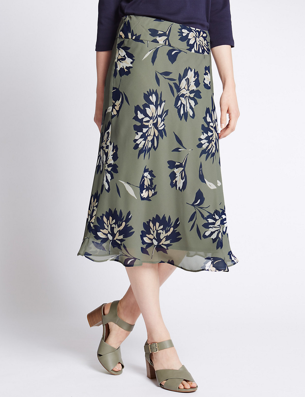 Classic Floral Midi Skirt