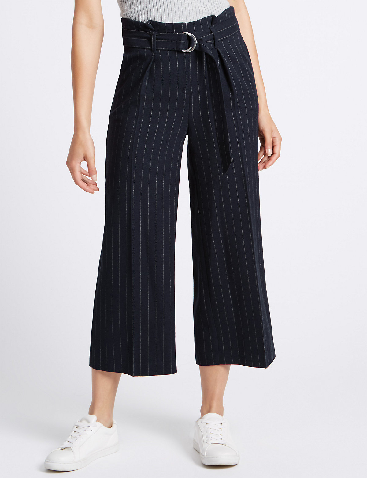 M&S Collection Stripe Wide Leg Trousers