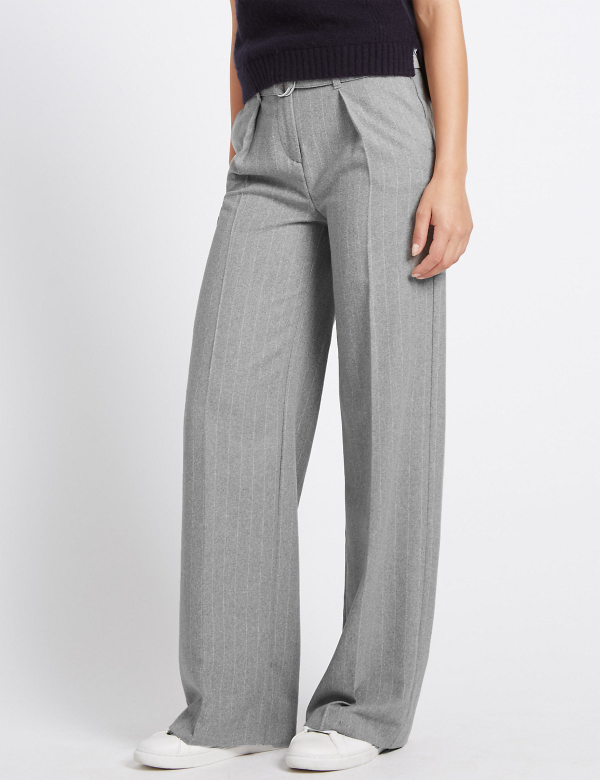 M&S Collection Wide Leg Belted Trousers