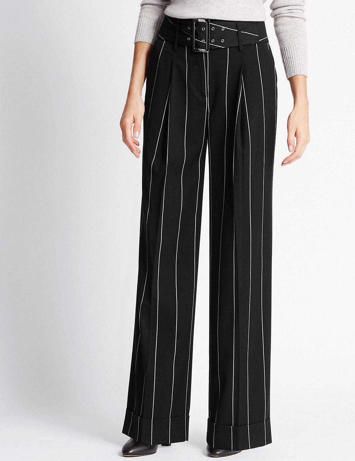 M&S Collection Wide Leg Striped Trousers