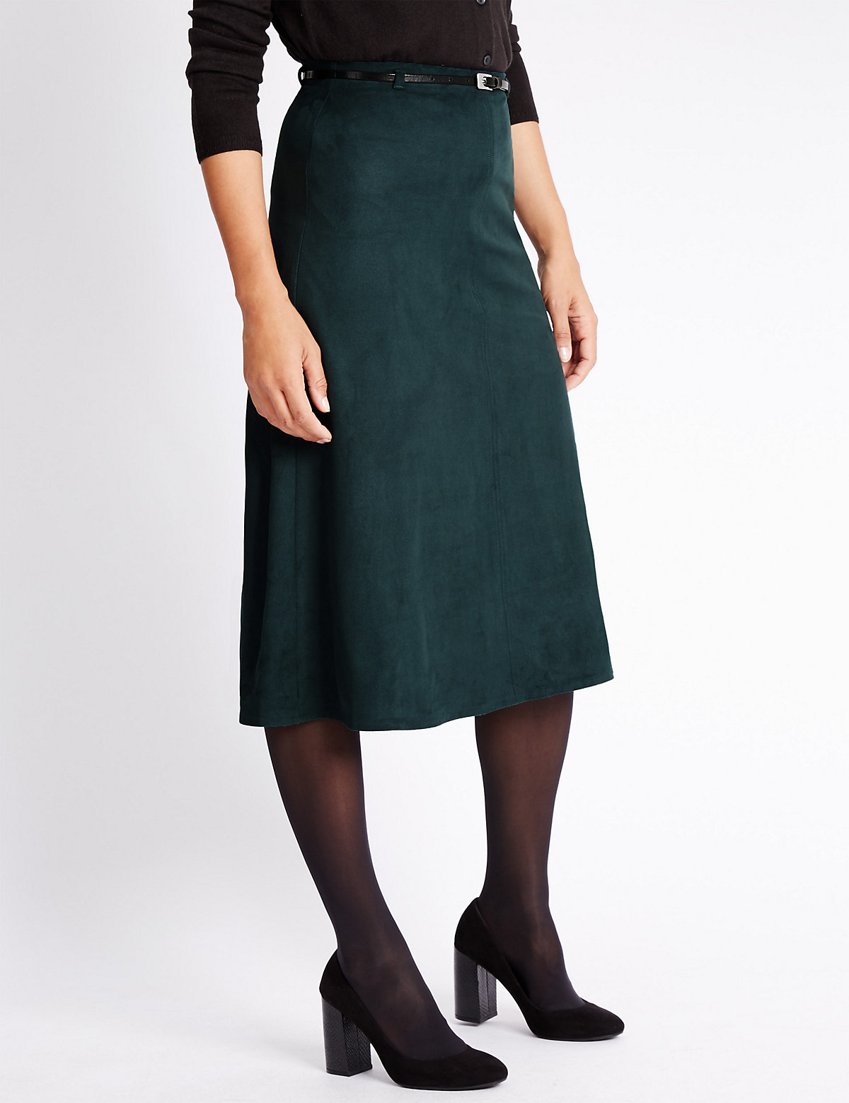 Classic Suedette A-Line Skirt with Belt