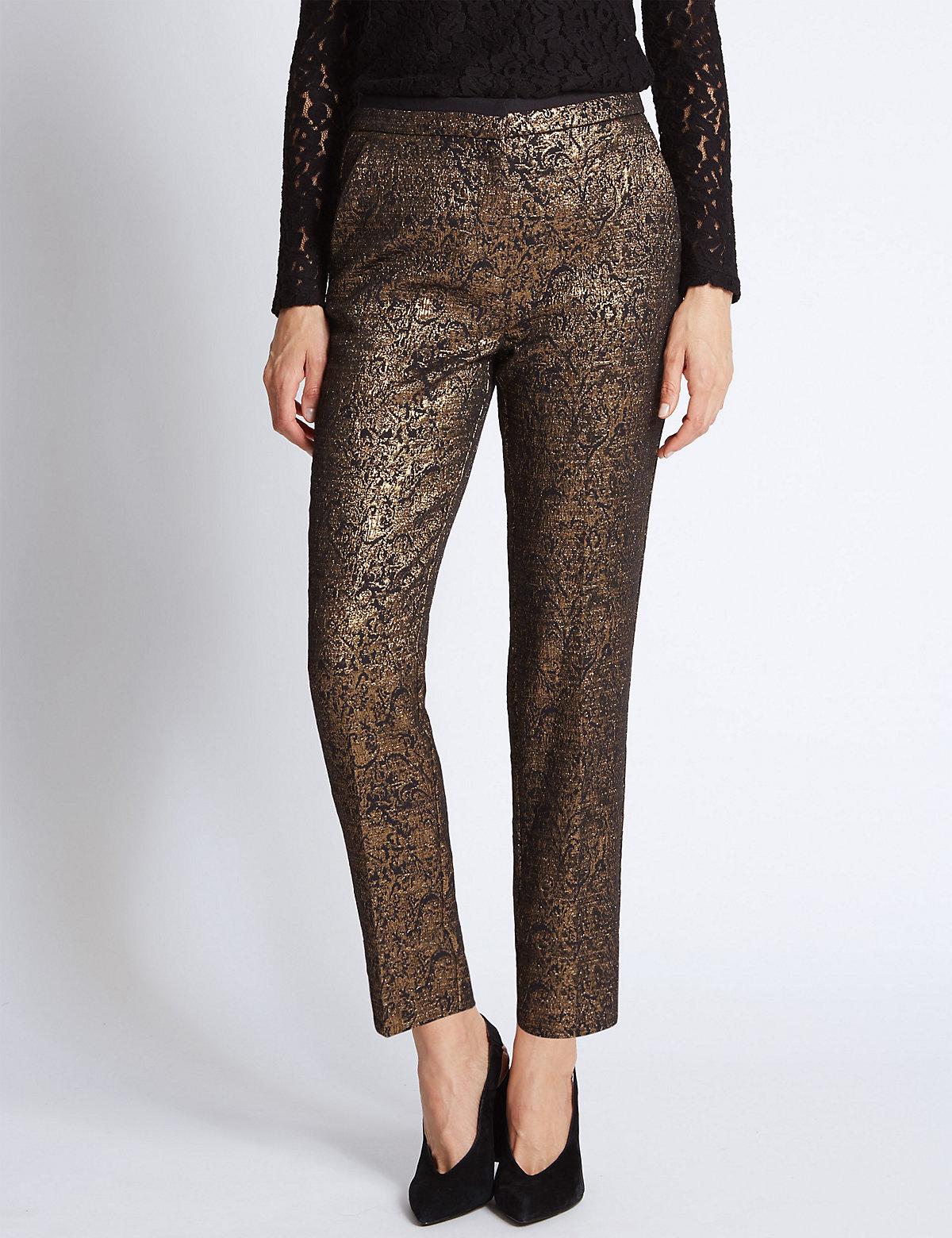 Per Una Gold Jacquard Print Tapered Leg Trousers