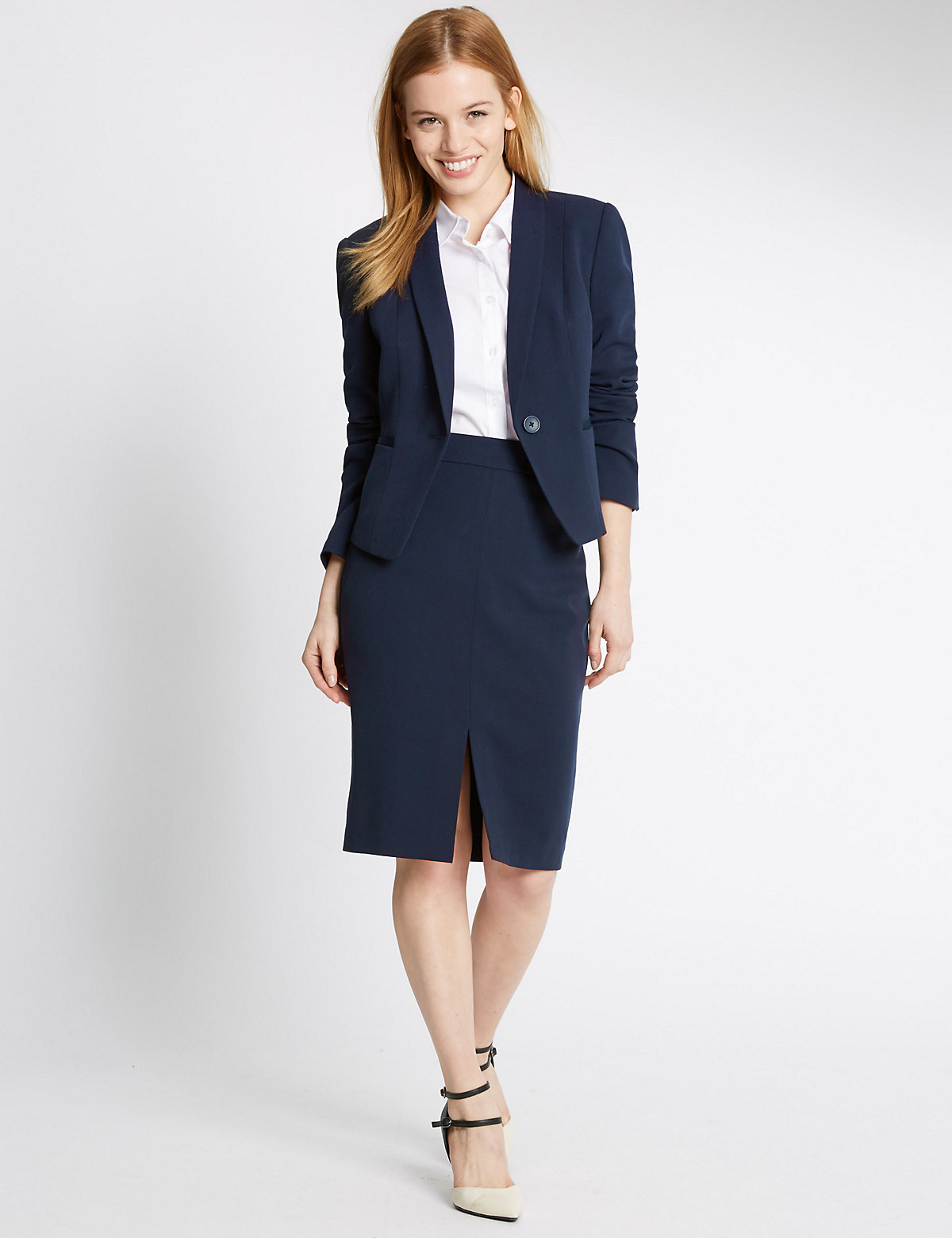 MS Collection PETITE Grosgrain Trim Pencil Skirt Marks and Spencer P22491836