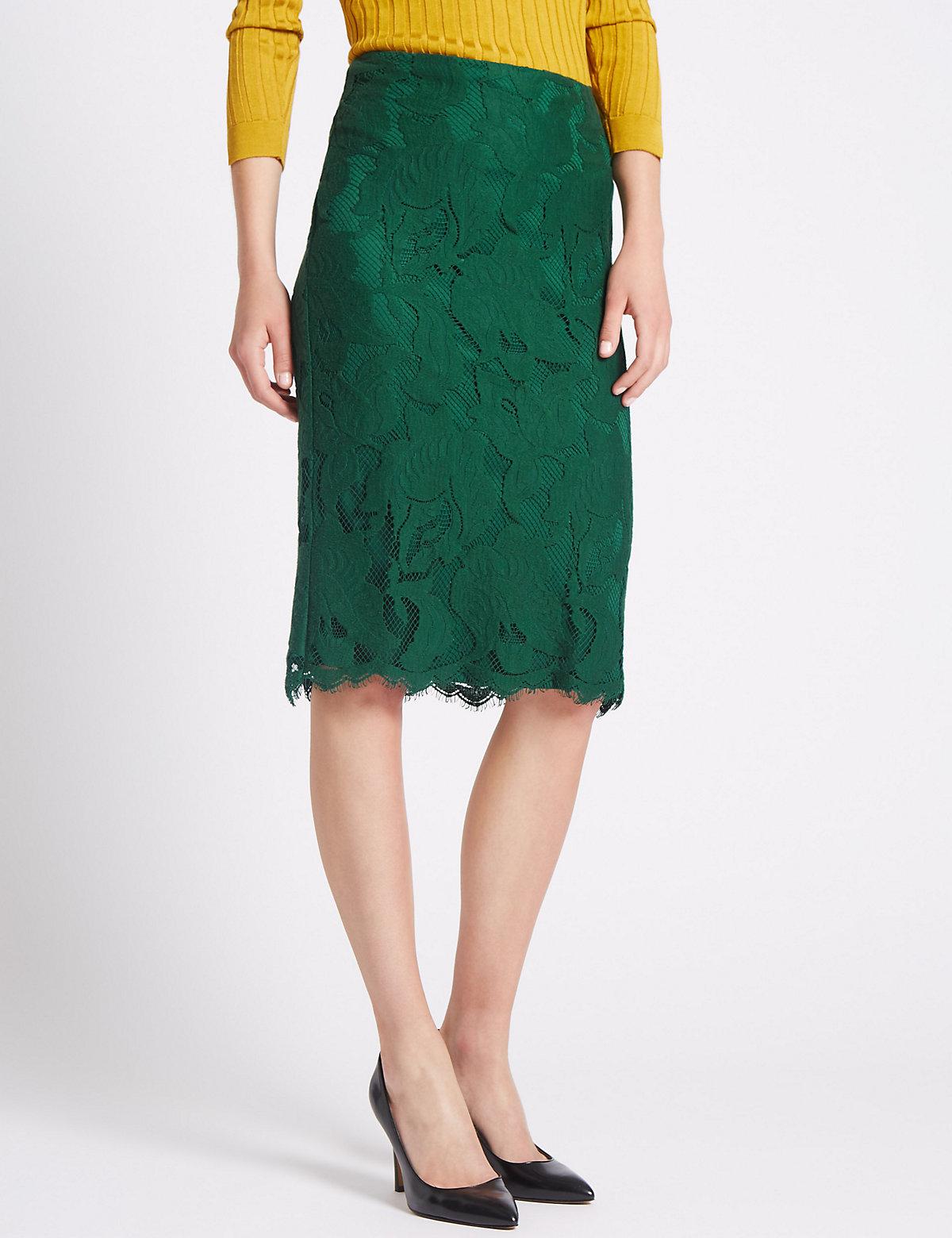 Per Una Cotton Blend Lace Skirt