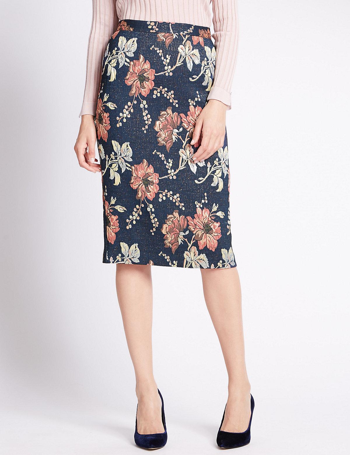 Per Una Floral A-Line Skirt