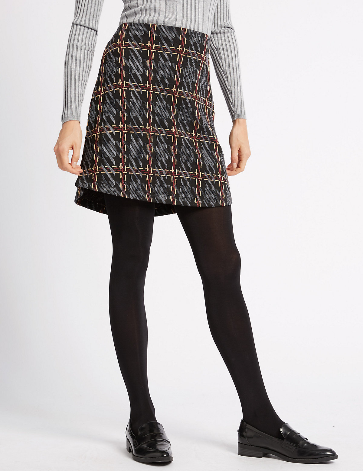 M&S Collection Textured A-Line Mini Skirt