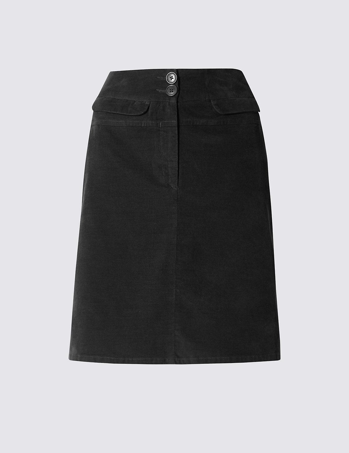 M&S Collection Cotton Rich Velveteen Mini A-Line Skirt