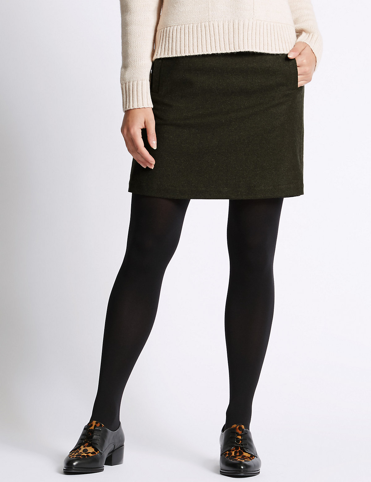 M&S Collection Luxury Stitch A-Line Skirt with Wool