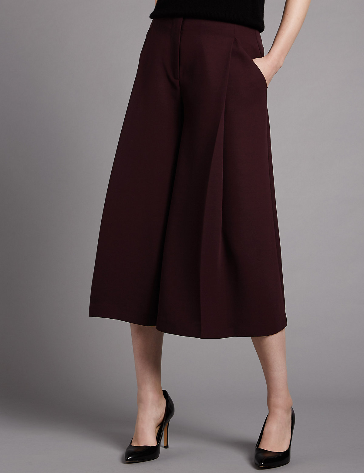 Autograph Cropped Wide Leg Trousers with Fused Hems