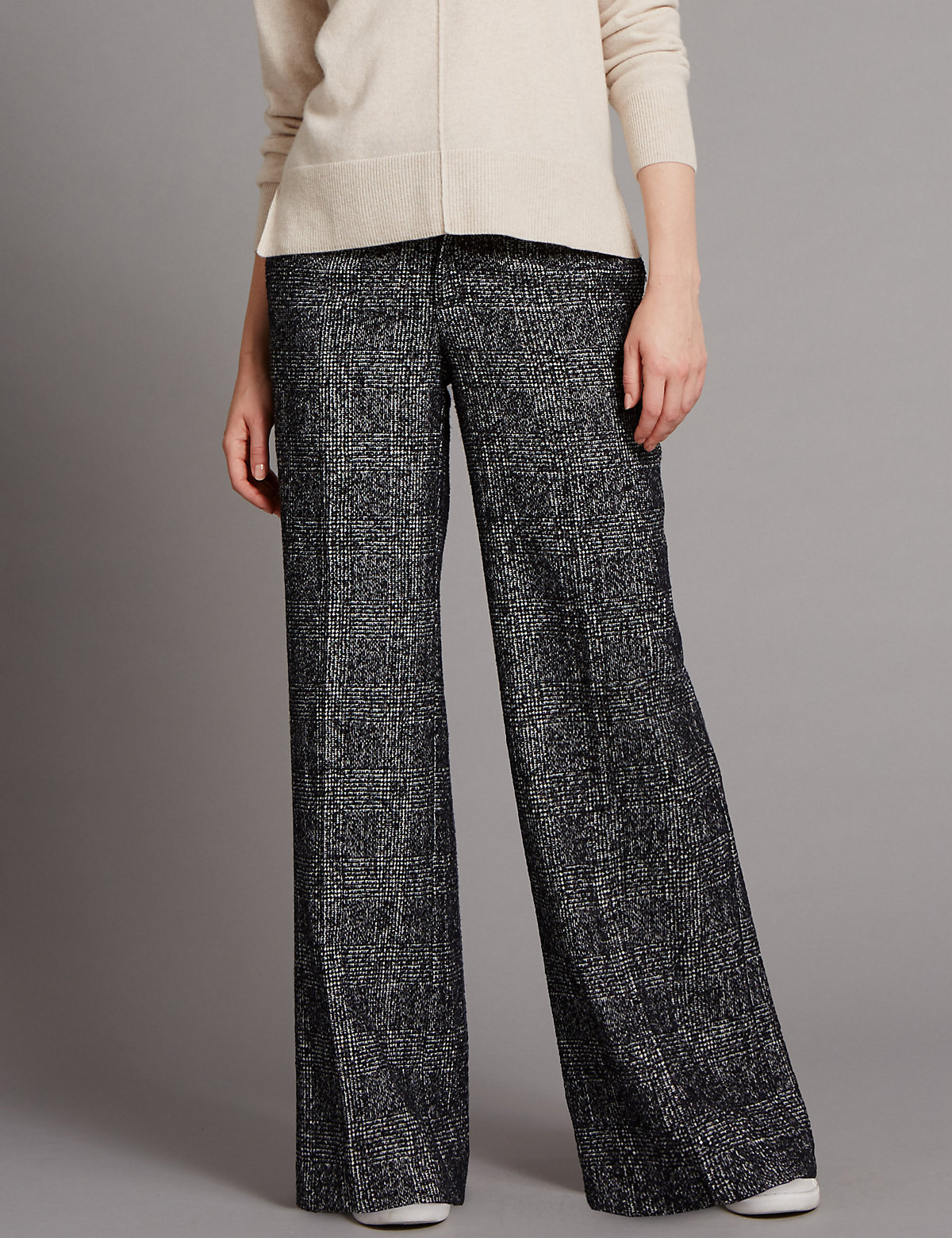 Autograph Wide Leg Checked Trousers with Wool