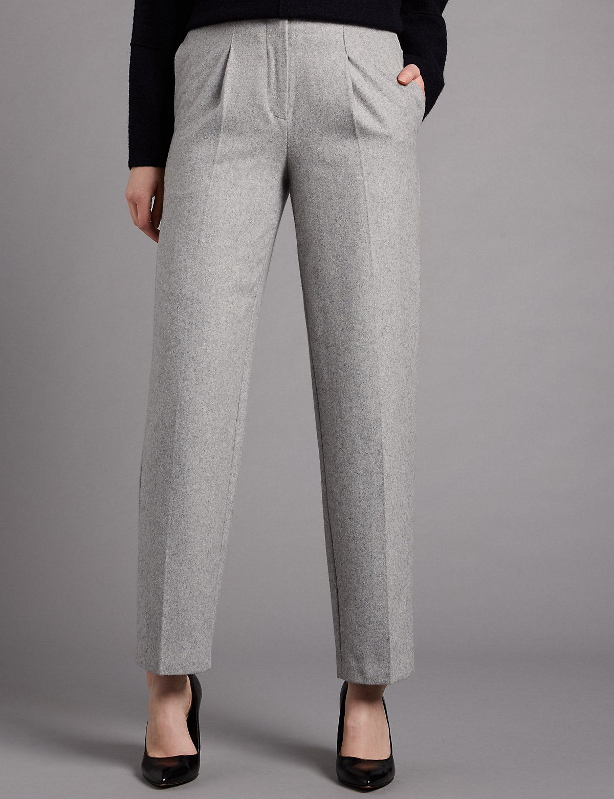 Autograph Pleated Front Trousers with Wool
