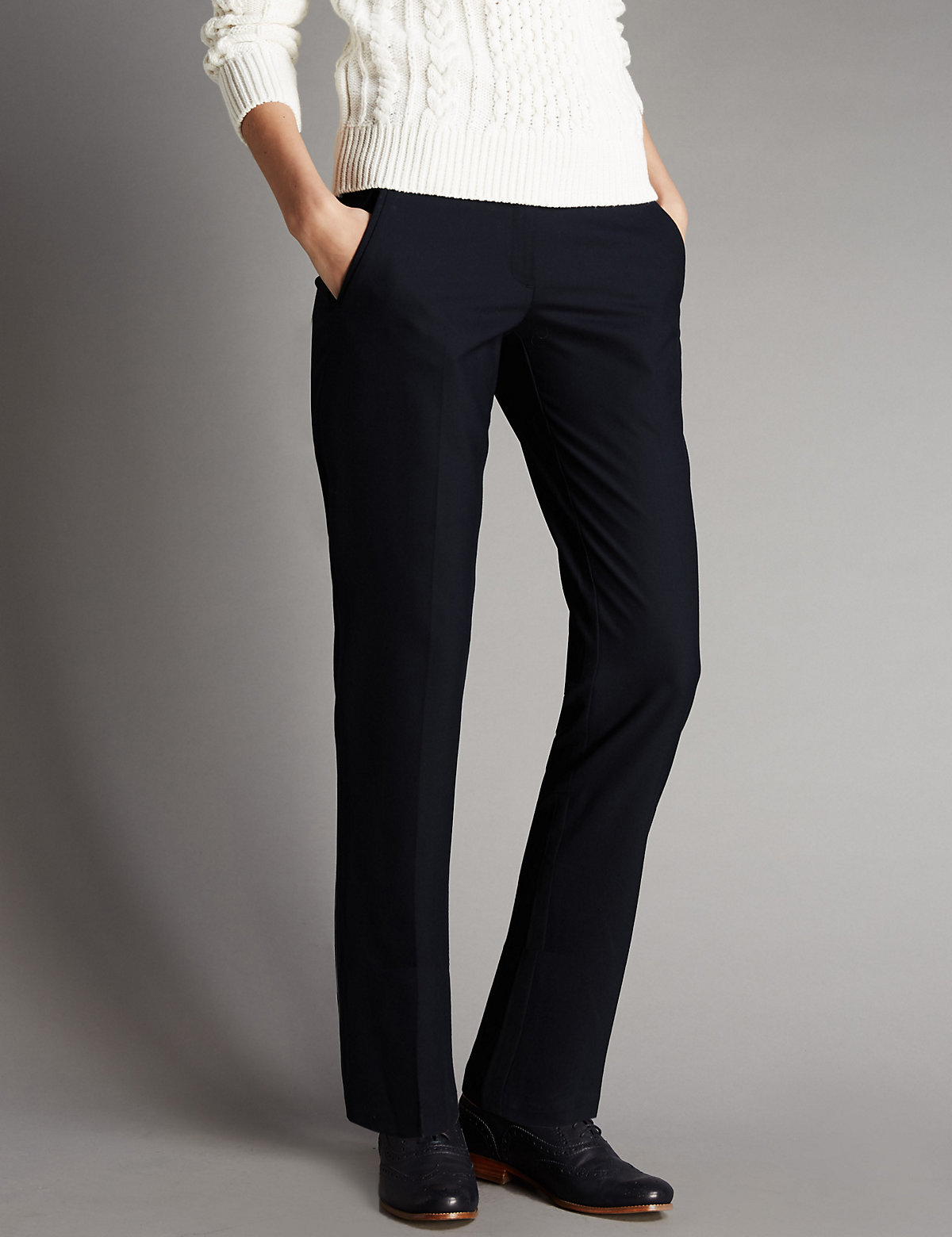 Autograph Jet Pocket Seam Tapered Leg Trousers with Wool