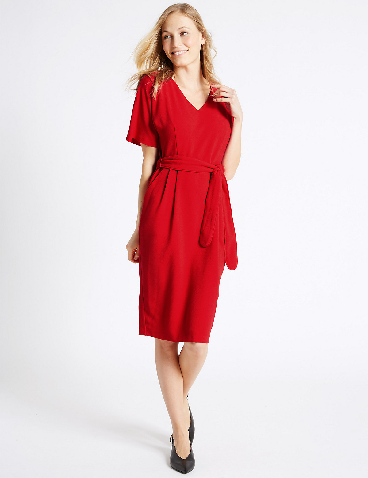 MS Collection Kimono Tie Short Sleeve Shift Dress Marks and Spencer P22489931