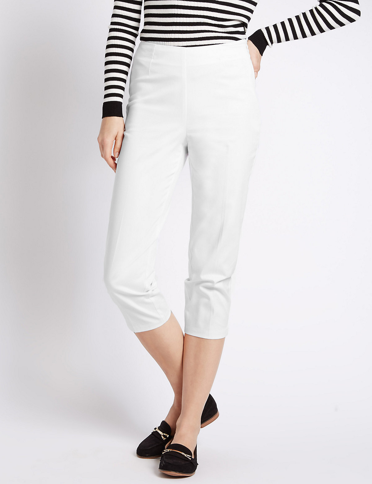 M&S Collection Cotton Rich Side Zip Cropped Trousers