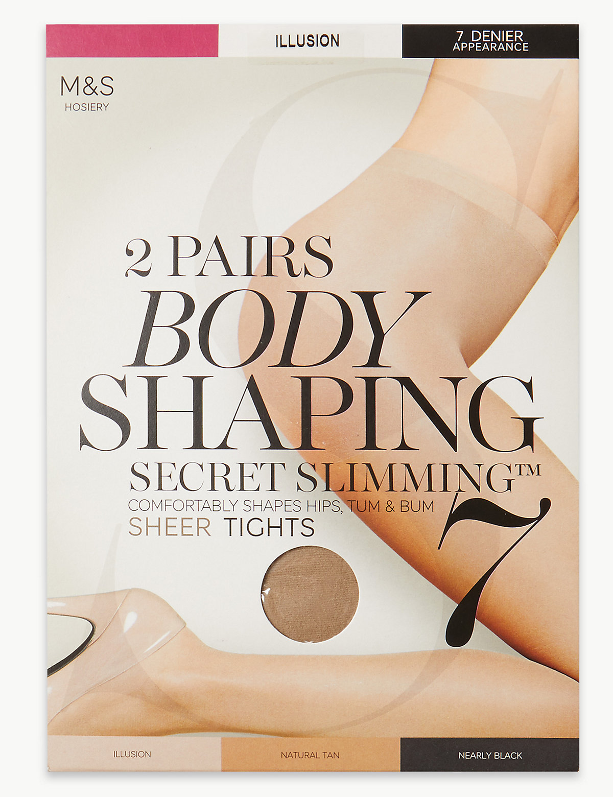 Image of M&S Collection 2 Pair Pack 7 Denier Secret Slimming Sheer Body Shaper Tights