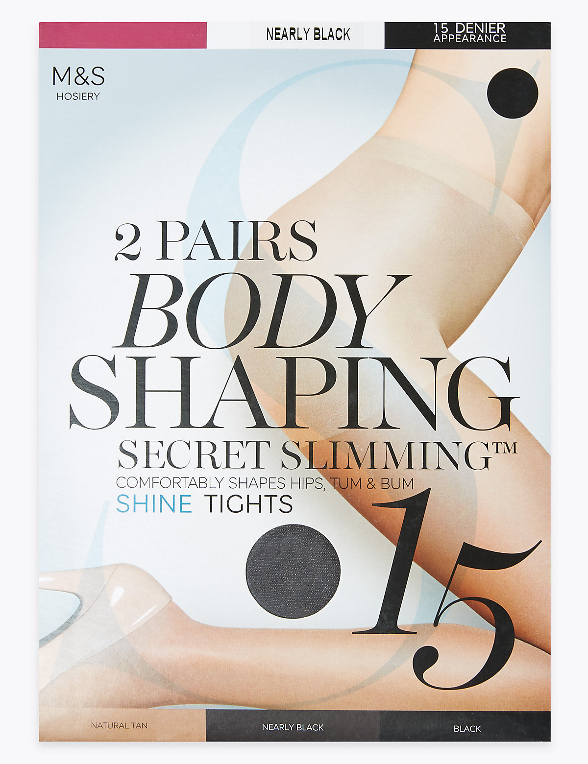 Image of M&S Collection 2 Pair Pack 15 Denier Secret Slimming Shine Body Shaper Tights