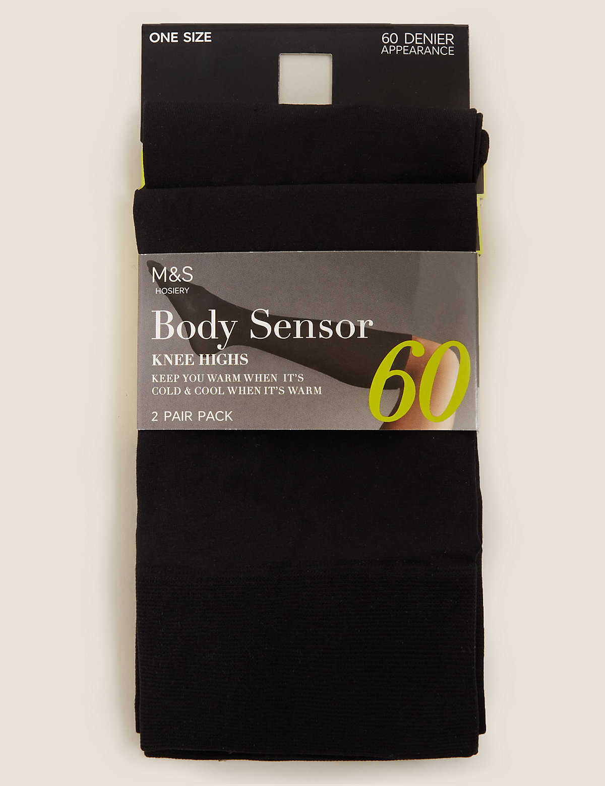 MS Collection 2 Pair Pack 60 Denier Body Sensor Opaque Knee Highs with Silver Technology Marks and Spencer P22269039