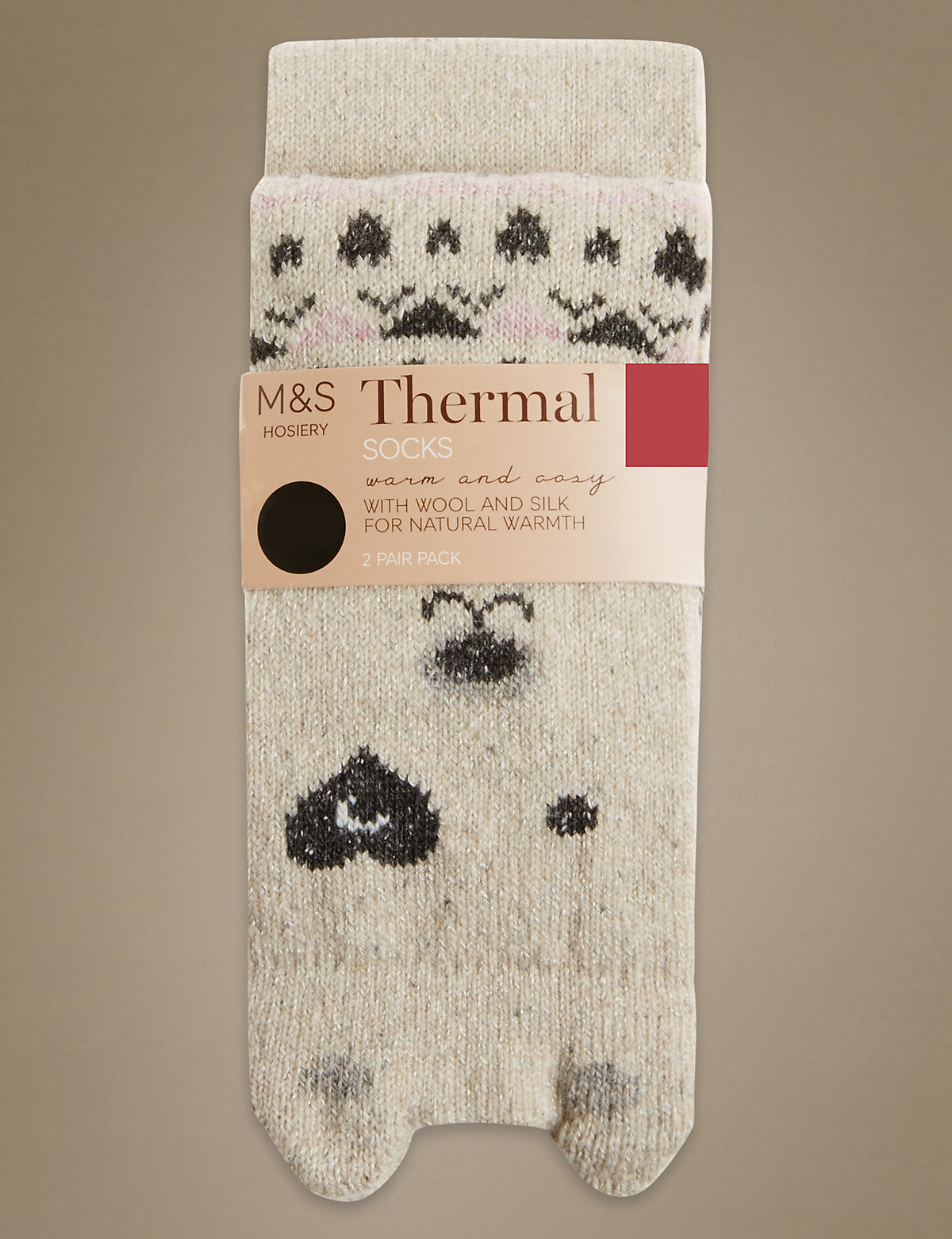 M&S Collection 2 Pair Pack Bear Thermal Ankle High Socks