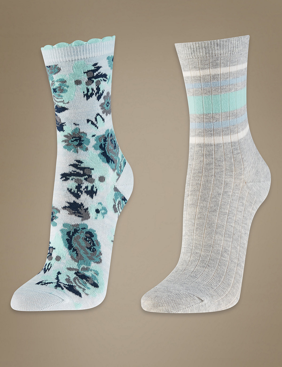 M&S Collection 2 Pair Pack Ankle High Floral Socks