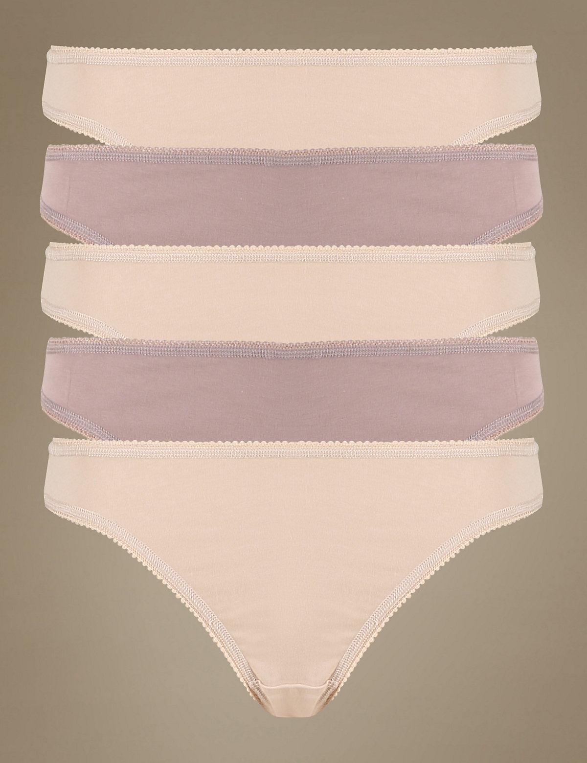 M&s Collection 5 Pack Cotton Rich Assorted Low Rise Thongs