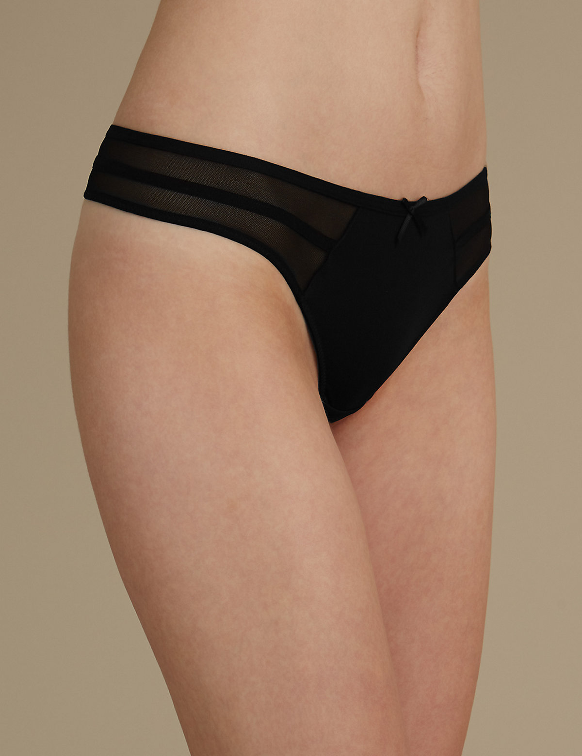 M&s Collection Strapping And Mesh Thong