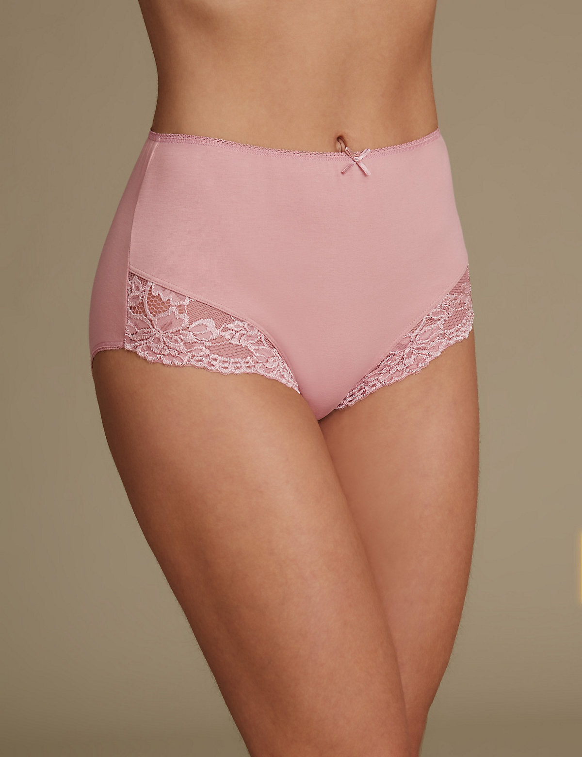 M&S Collection Cotton Rich Lace Cuffed Full Briefs