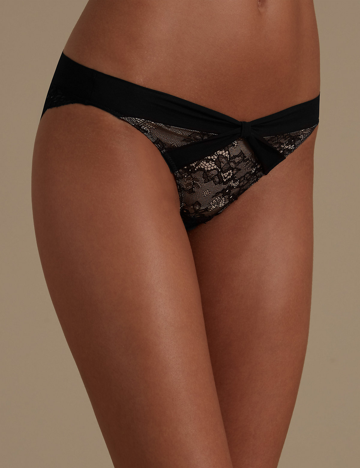 M&s Collection Chantilly Lace Bow Bikini Knickers