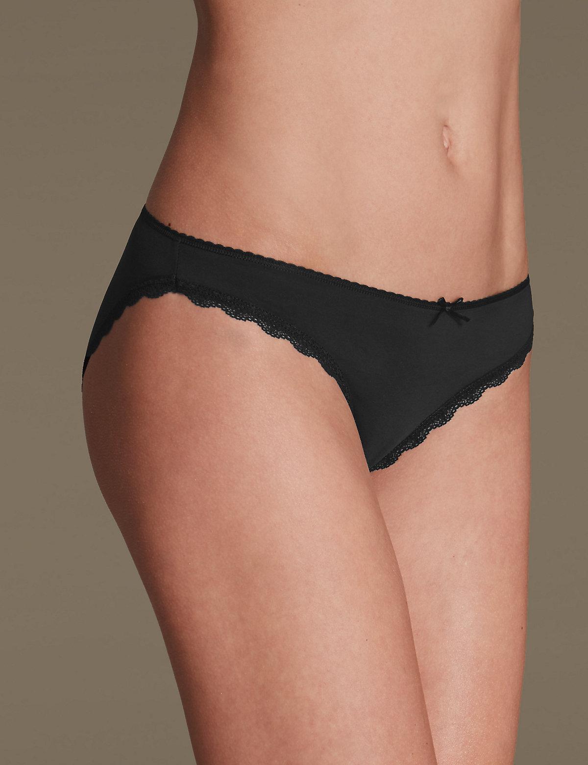 M&S Collection Microfibre Lace Trim Bikini Knickers
