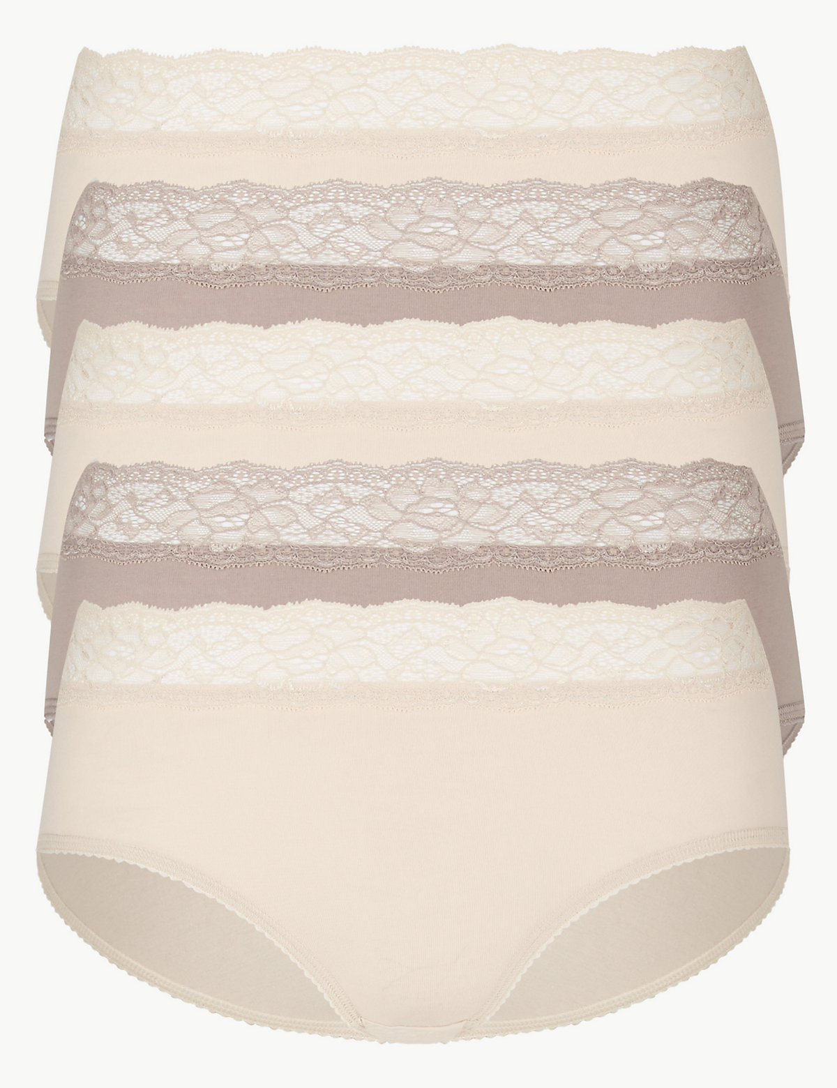 M&S Collection 5 Pack Lace High Waisted Midi Knickers