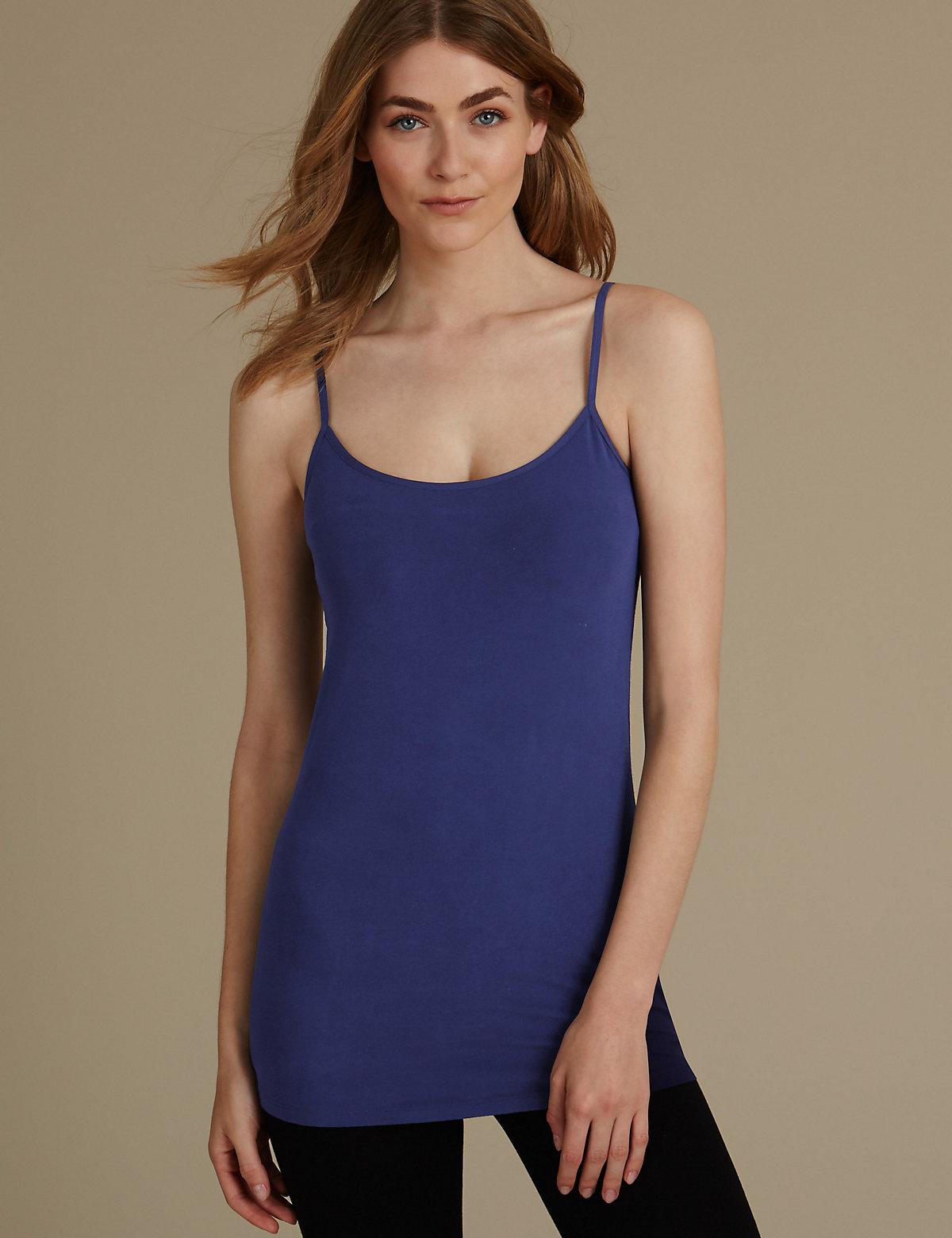 M&s Collection Cotton Rich Longline Strappy Vest Top