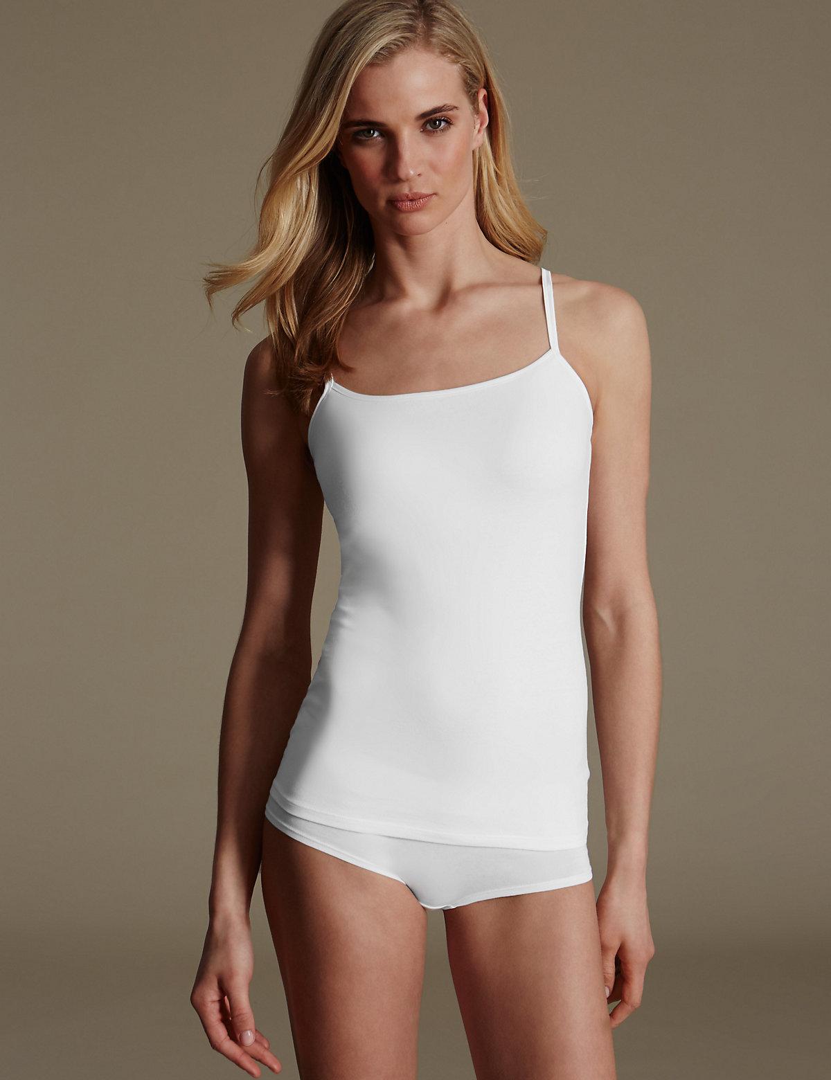 M&S Collection Secret Support Cotton Rich Strappy Bra Vest DD-G with Satin Trim
