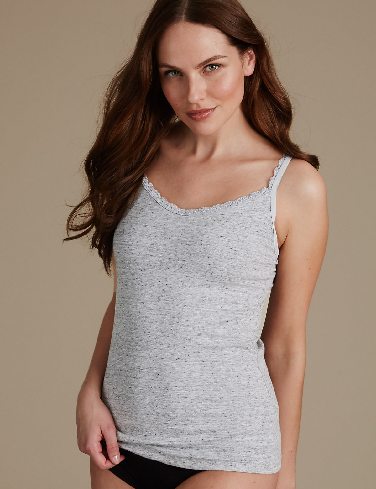 MS Collection Secret Support Lace Trim Strappy Vest Marks and Spencer P60086599