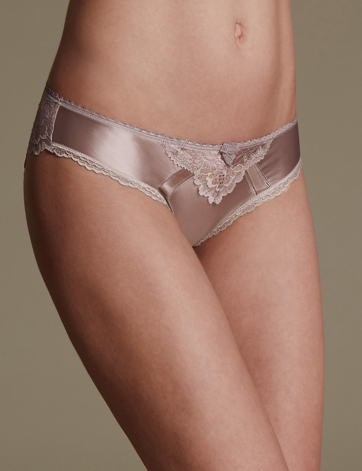M&s Collection Sheen & Lace Low Rise Brazilian Knickers