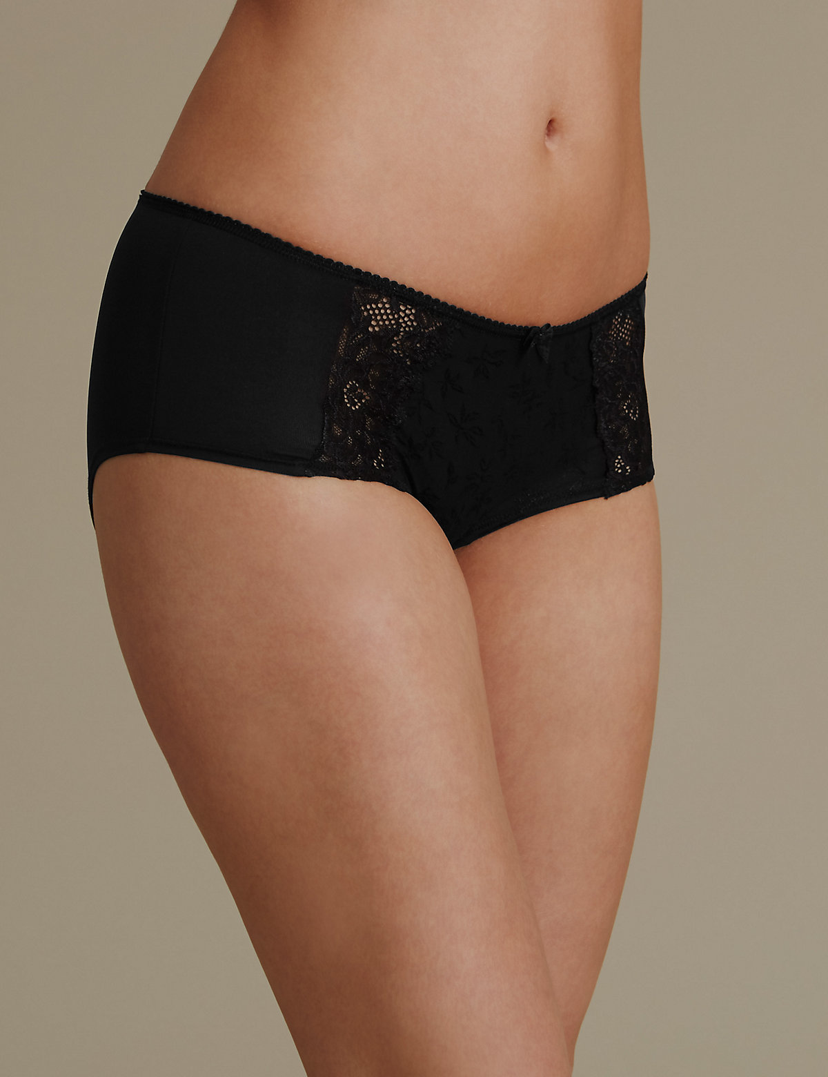 M&s Collection Jacquard & Lace Low Rise Short Knickers